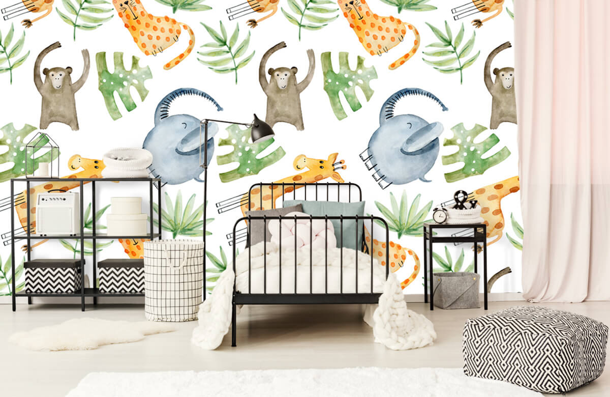 Baby wallpaper - Watercolor zoo - Baby room 2