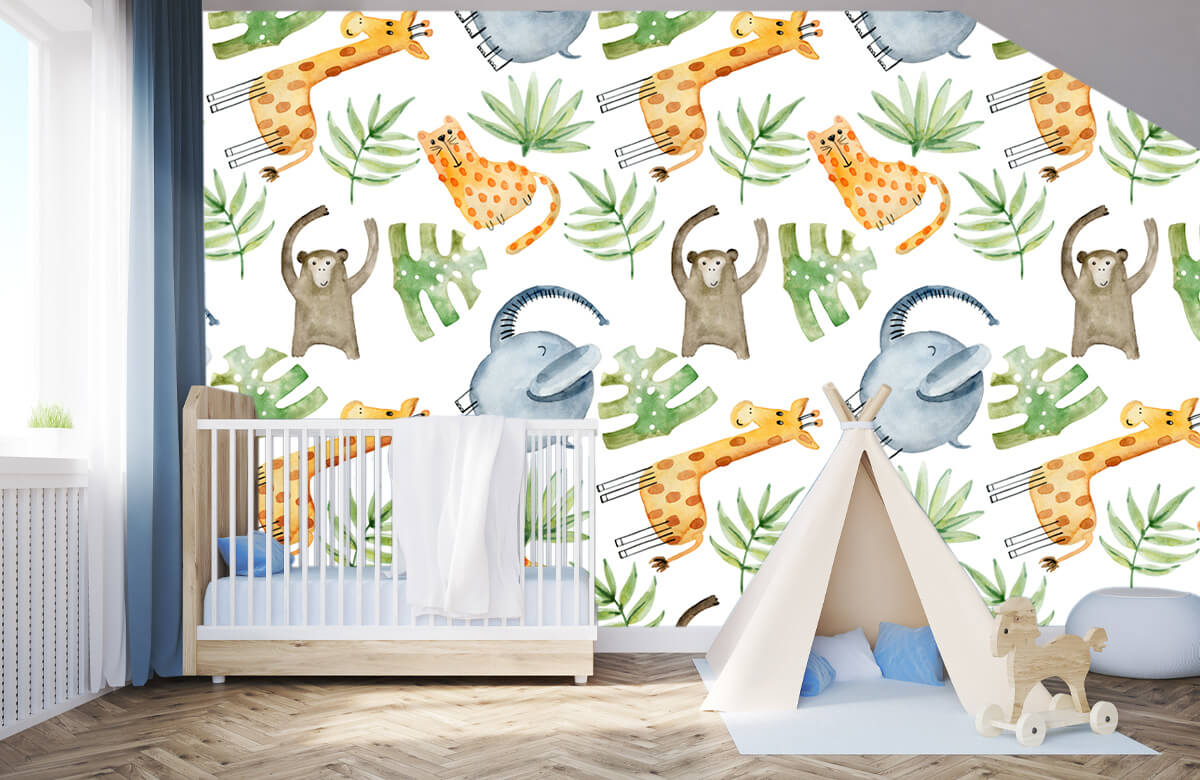 Baby wallpaper - Watercolor zoo - Baby room 3