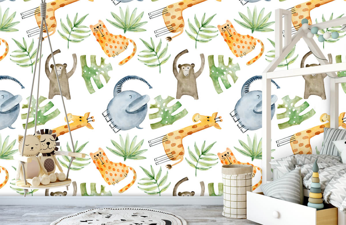 Baby wallpaper - Watercolor zoo - Baby room 4