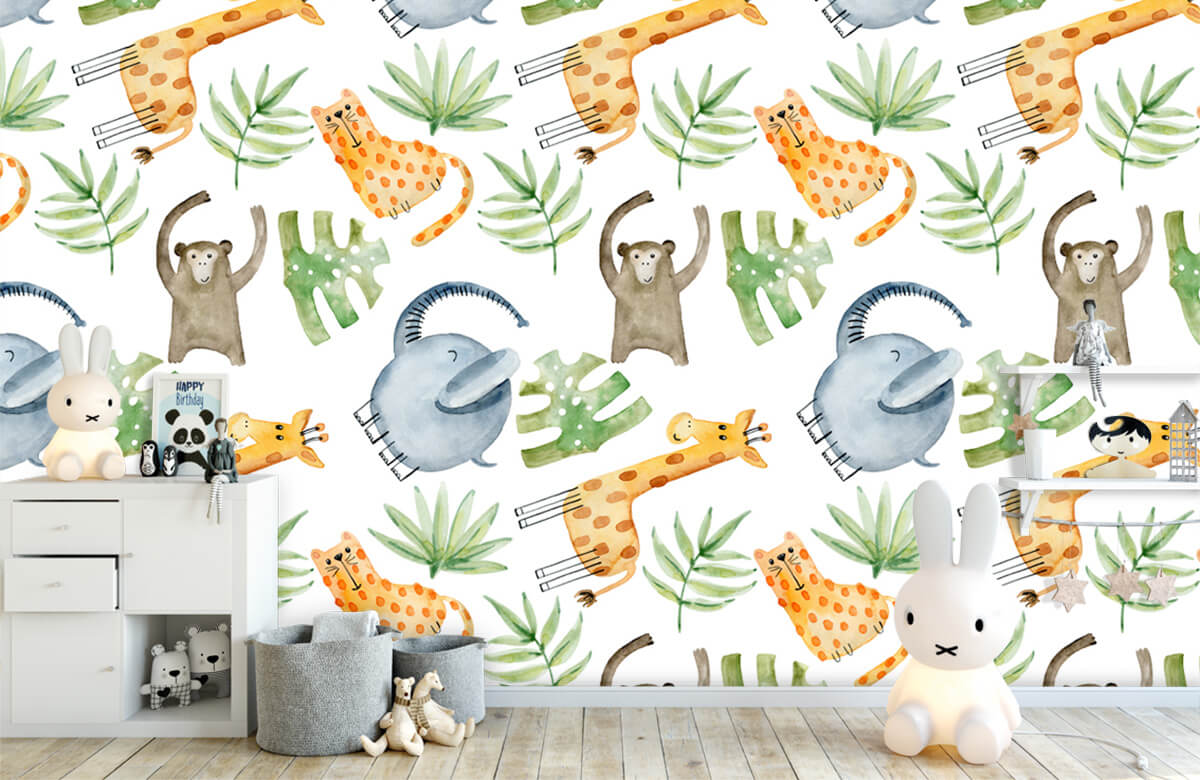 Baby wallpaper - Watercolor zoo - Baby room 1