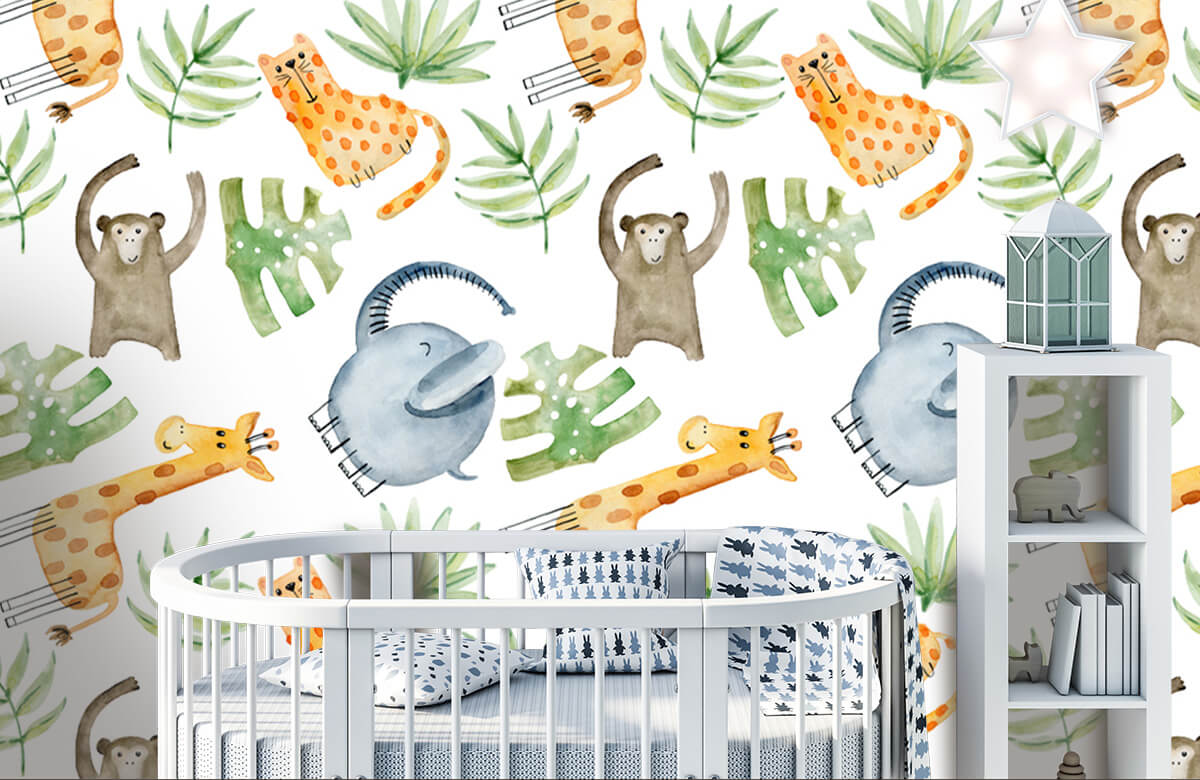 Baby wallpaper - Watercolor zoo - Baby room 5