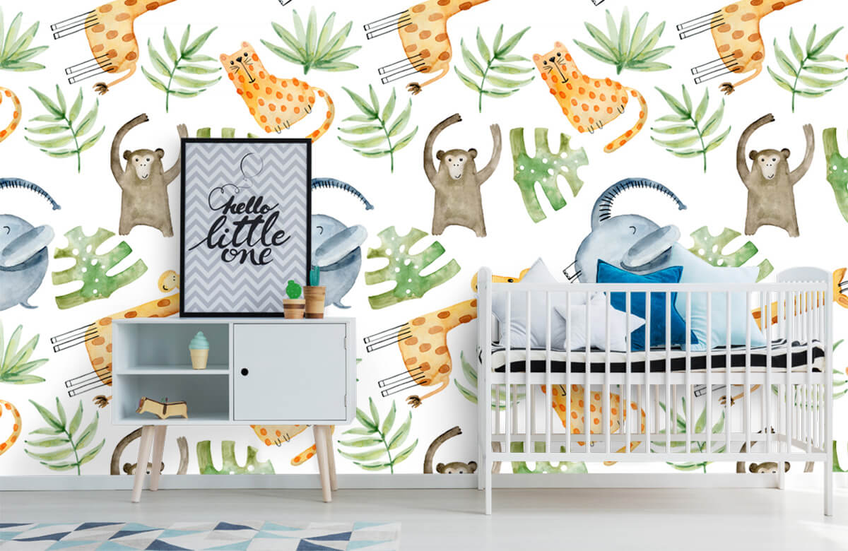 Baby wallpaper - Watercolor zoo - Baby room 6