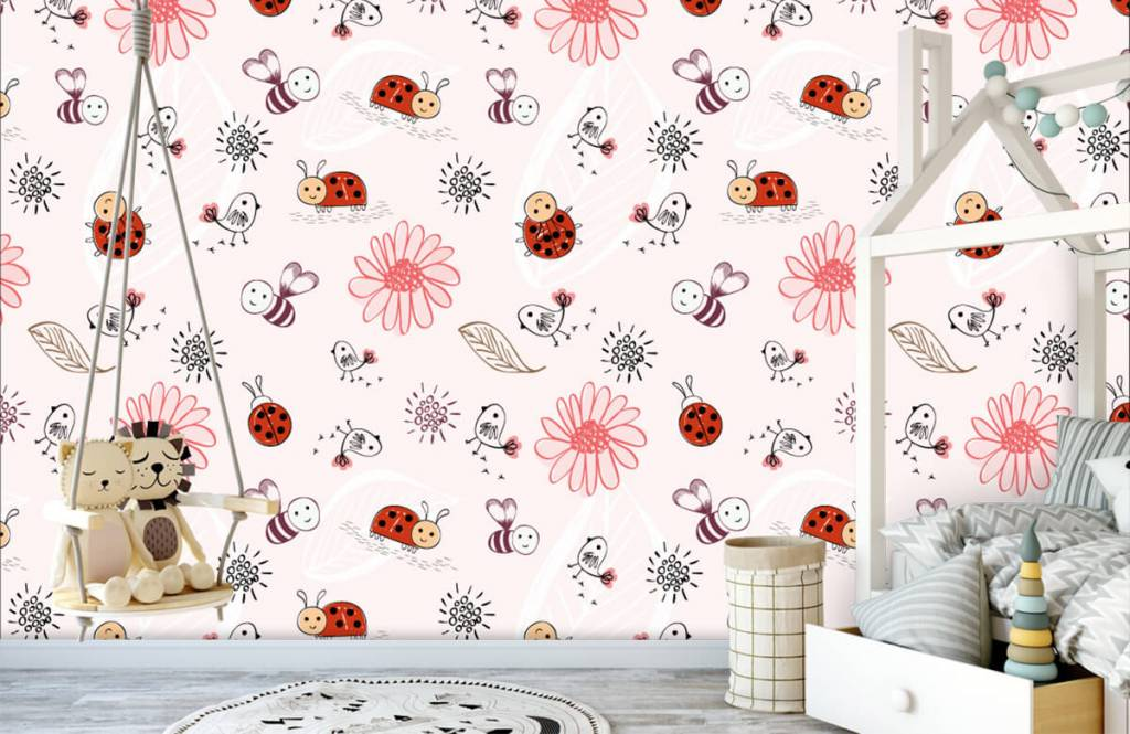 Baby wallpaper - Flowers and bees - Baby room 4