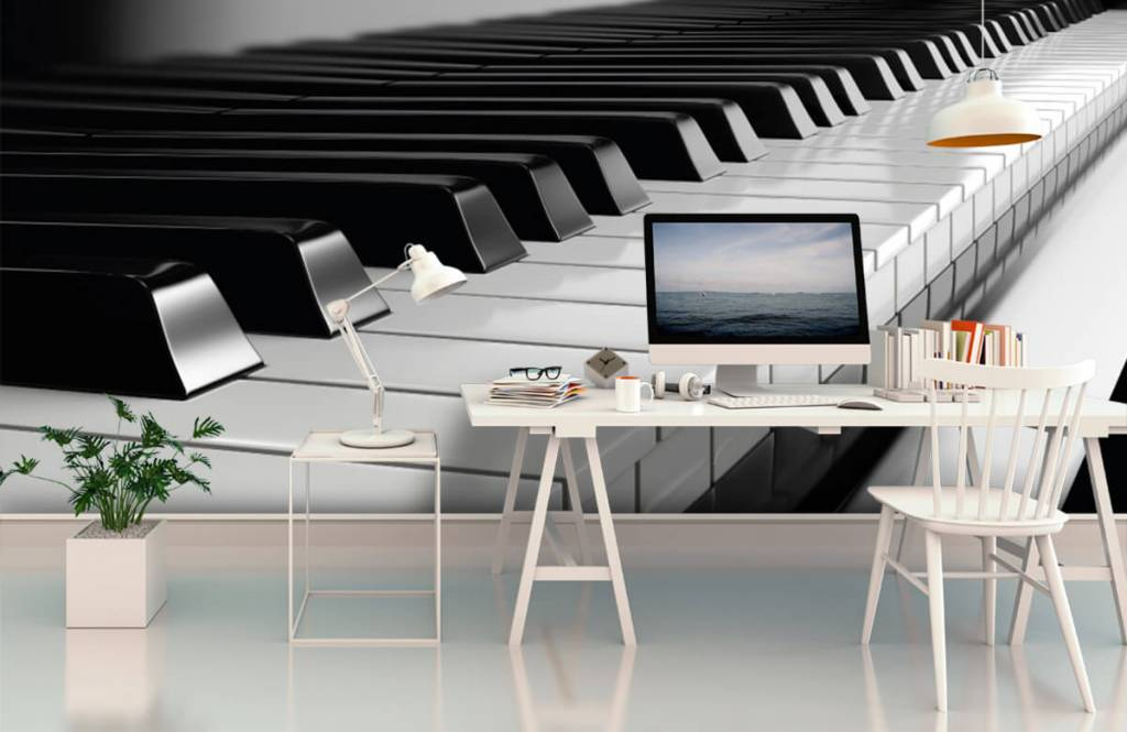 Black and white wallpaper - Piano - Hobby room 1