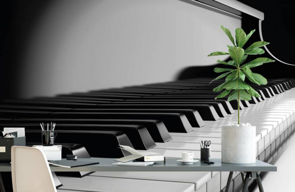 Black and white wallpaper - Piano - Hobby room 2