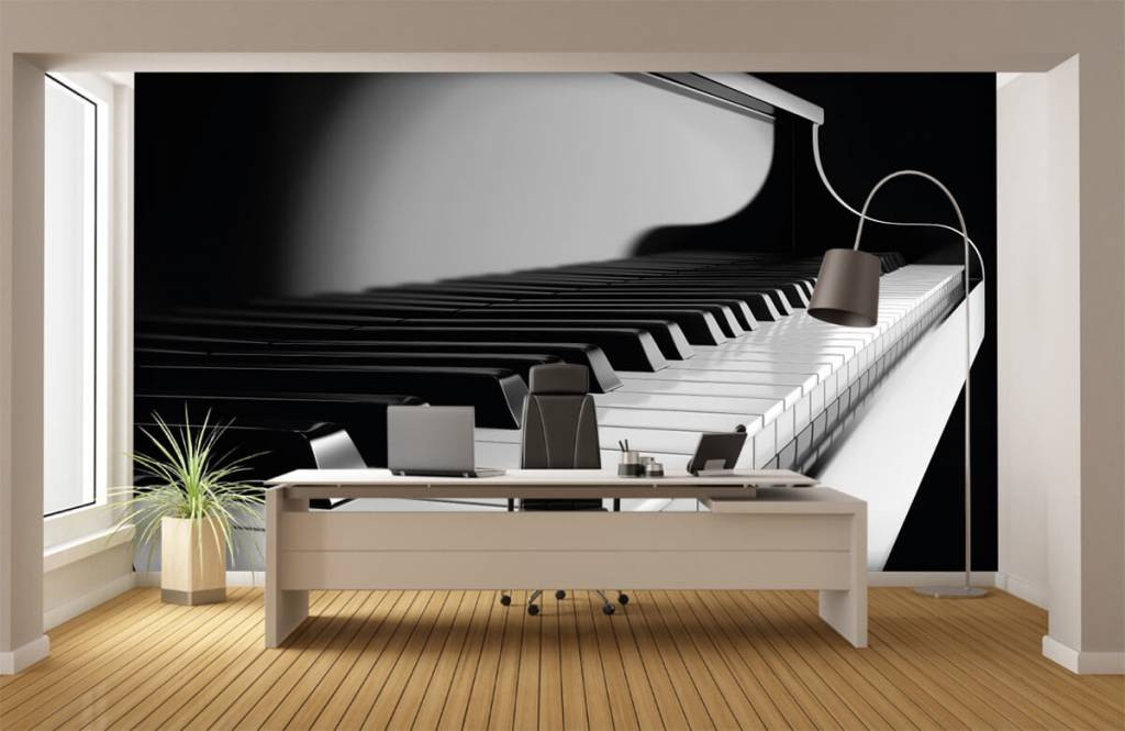Black and white wallpaper - Piano - Hobby room 3