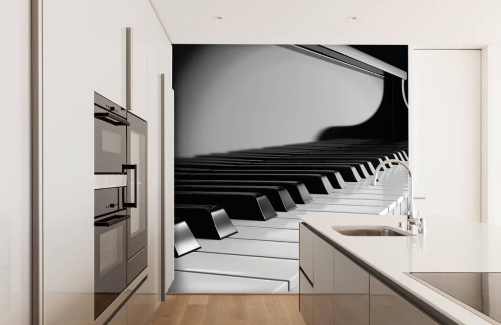 Black and white wallpaper - Piano - Hobby room 4