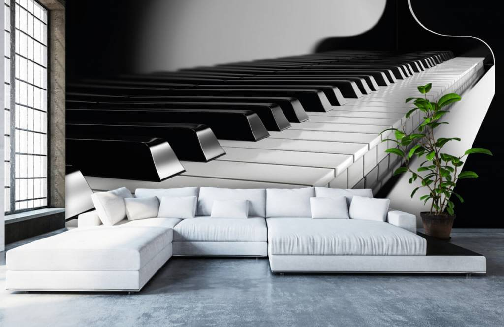Black and white wallpaper - Piano - Hobby room 5