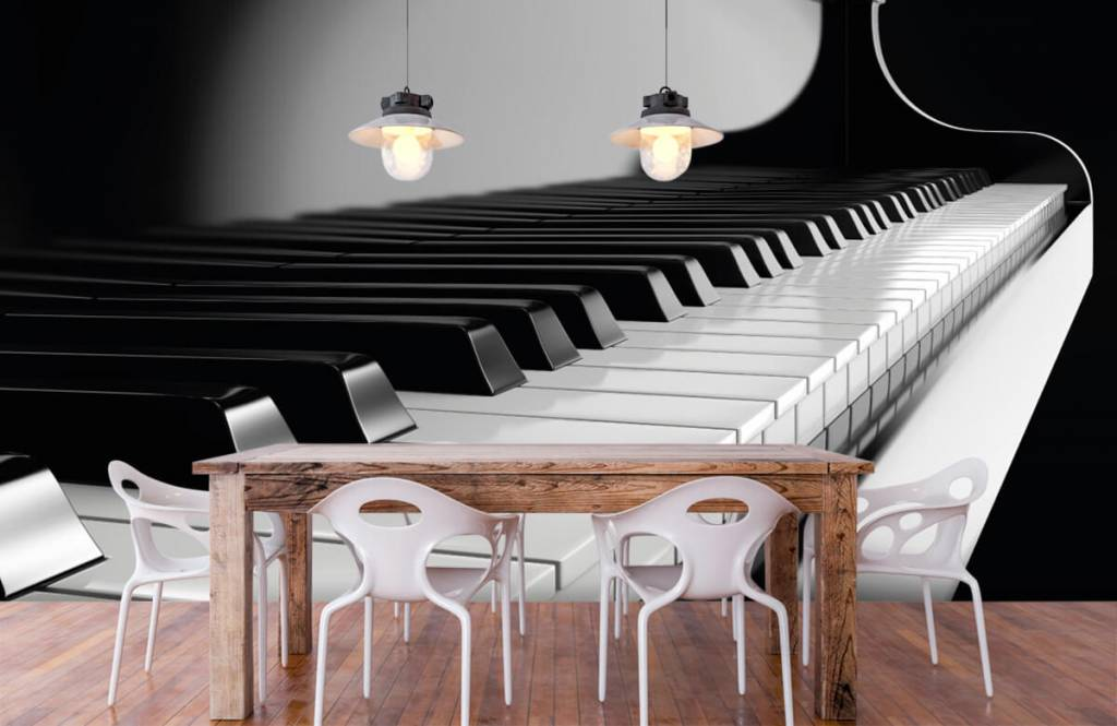 Black and white wallpaper - Piano - Hobby room 6