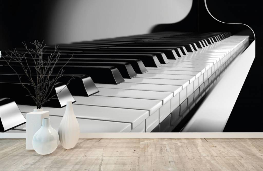 Black and white wallpaper - Piano - Hobby room 7