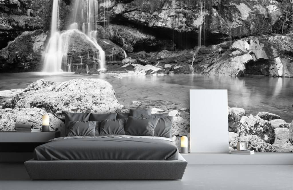 Black and white wallpaper - Waterfall over a stone wall - Bedroom 3