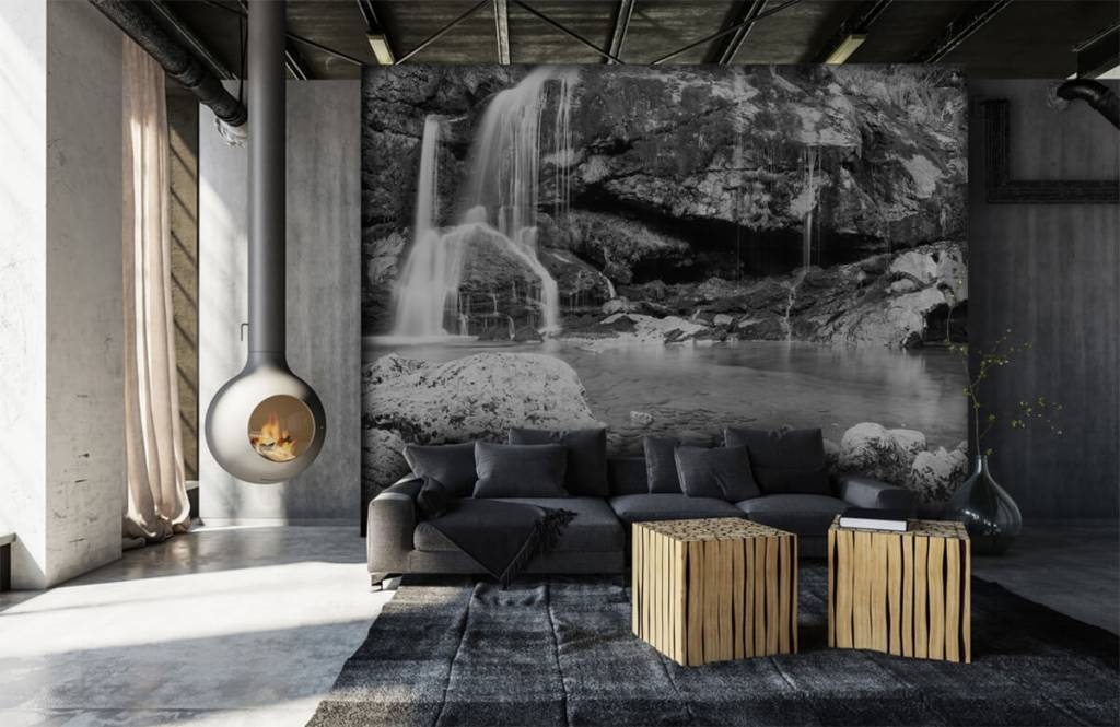 Black and white wallpaper - Waterfall over a stone wall - Bedroom 7