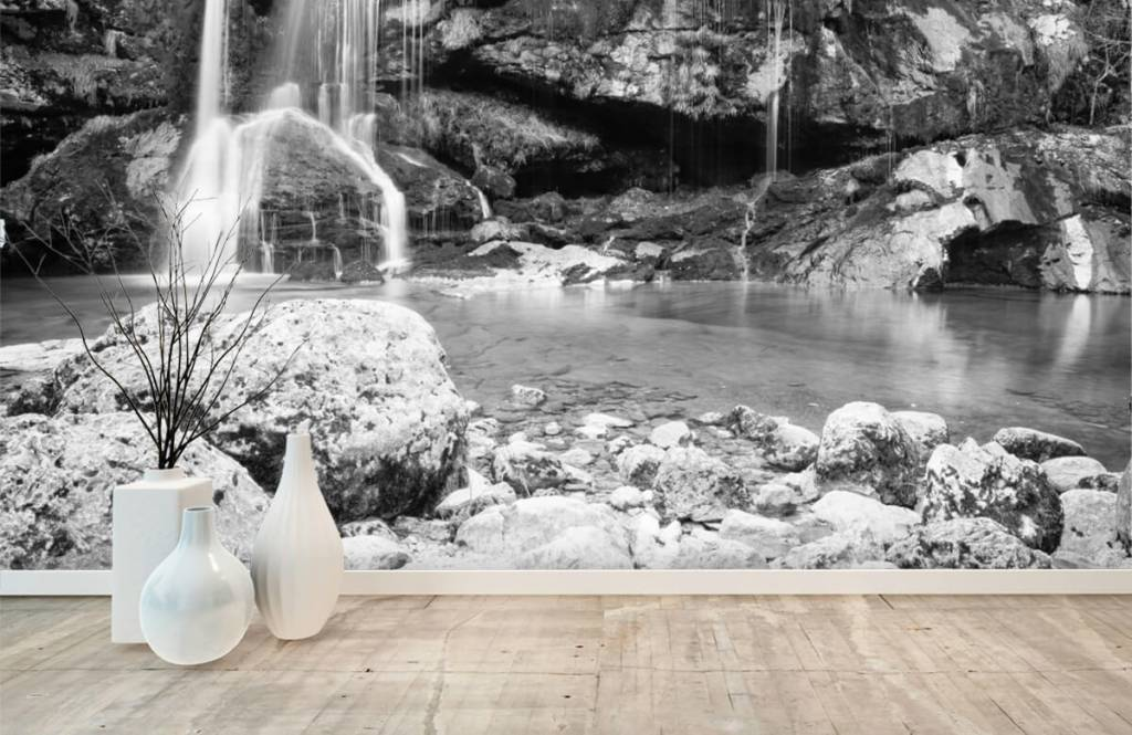 Black and white wallpaper - Waterfall over a stone wall - Bedroom 8