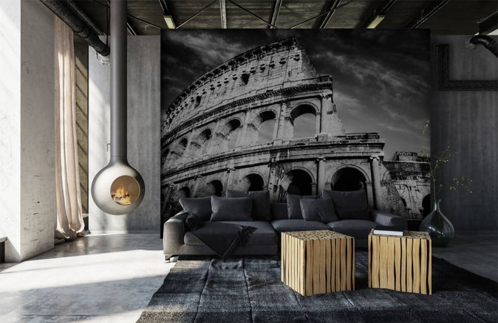 Black and white wallpaper - Colosseum in Rome - Teenage room 2