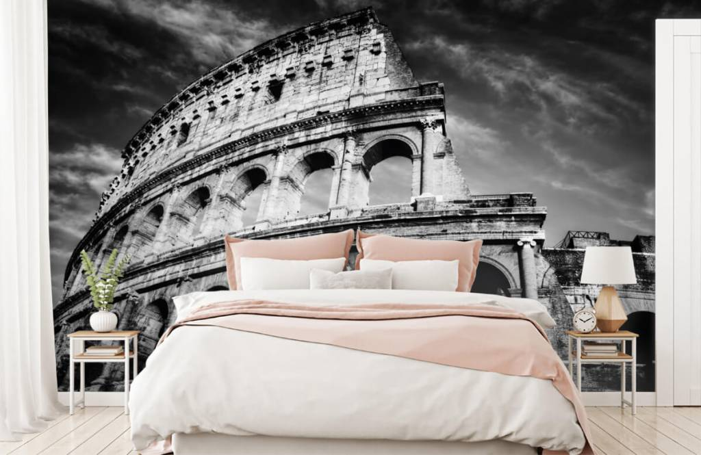 Black and white wallpaper - Colosseum in Rome - Teenage room 3