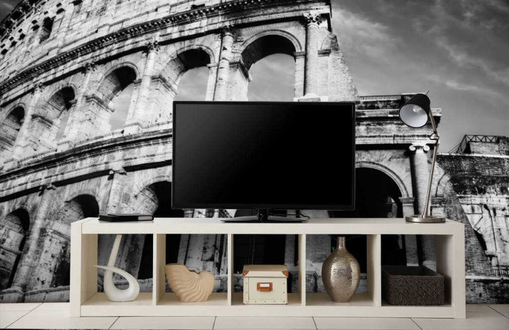 Black and white wallpaper - Colosseum in Rome - Teenage room 6