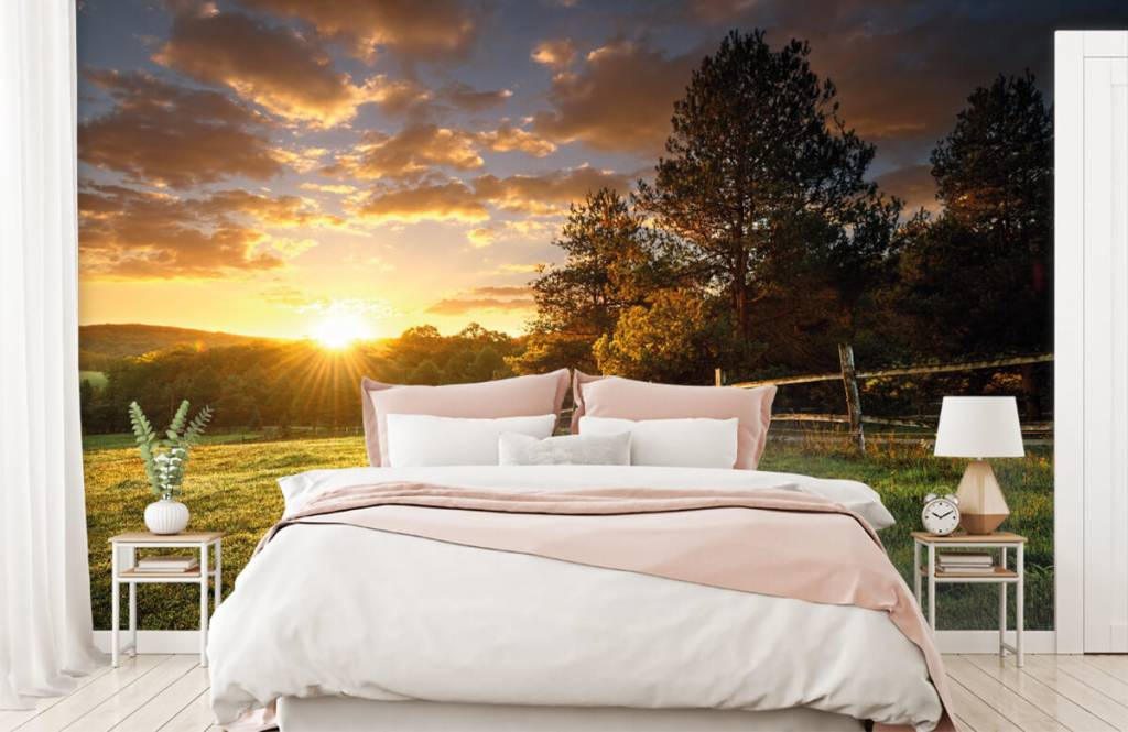 Landscape wallpaper - Pasture at sunset - Bedroom 2