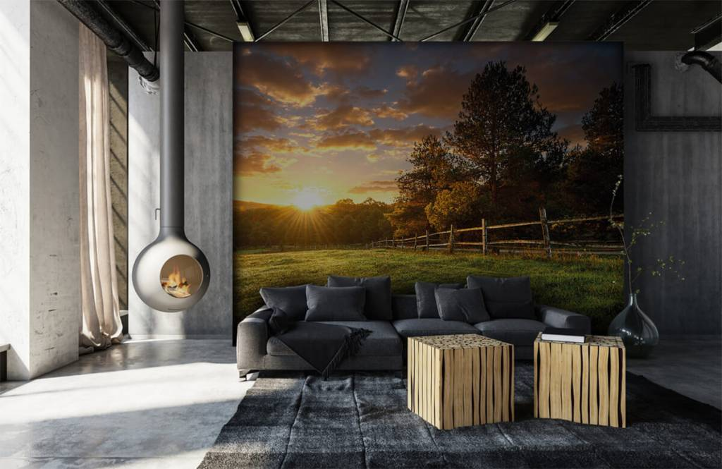 Landscape wallpaper - Pasture at sunset - Bedroom 6