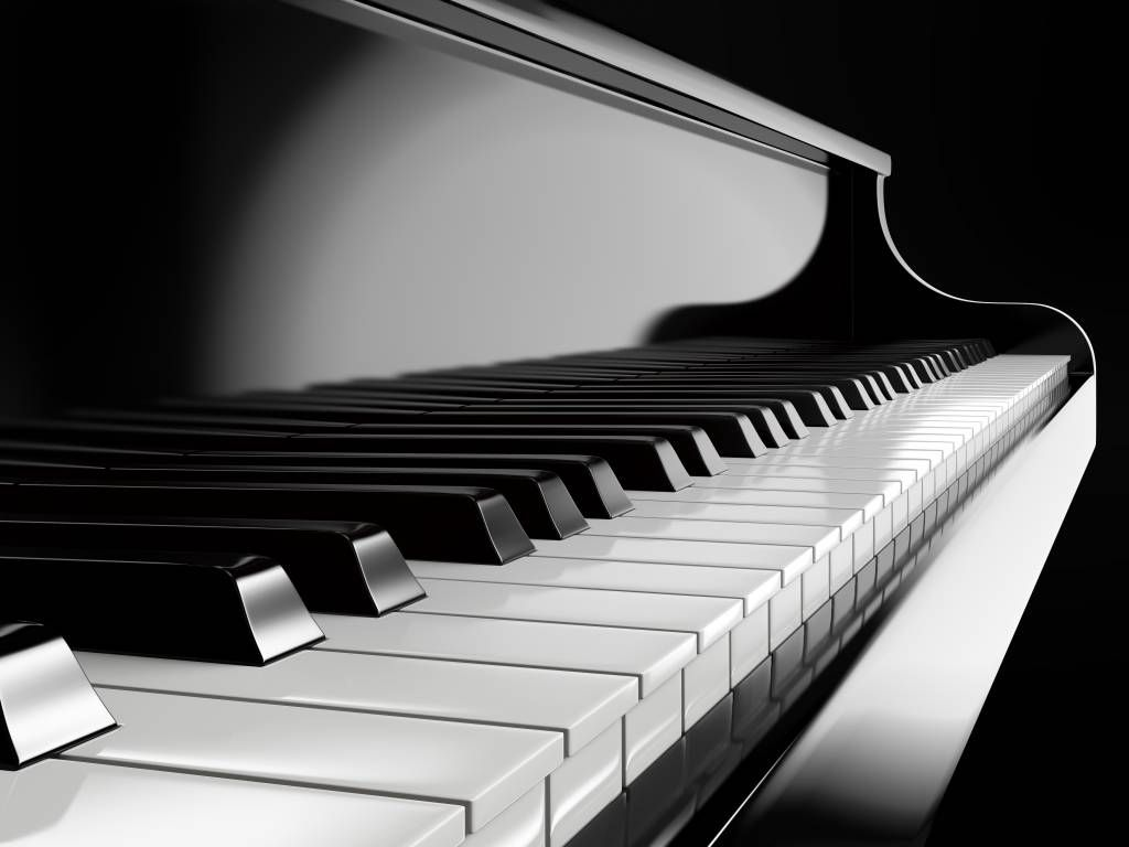 Black and white wallpaper - Piano - Hobby room