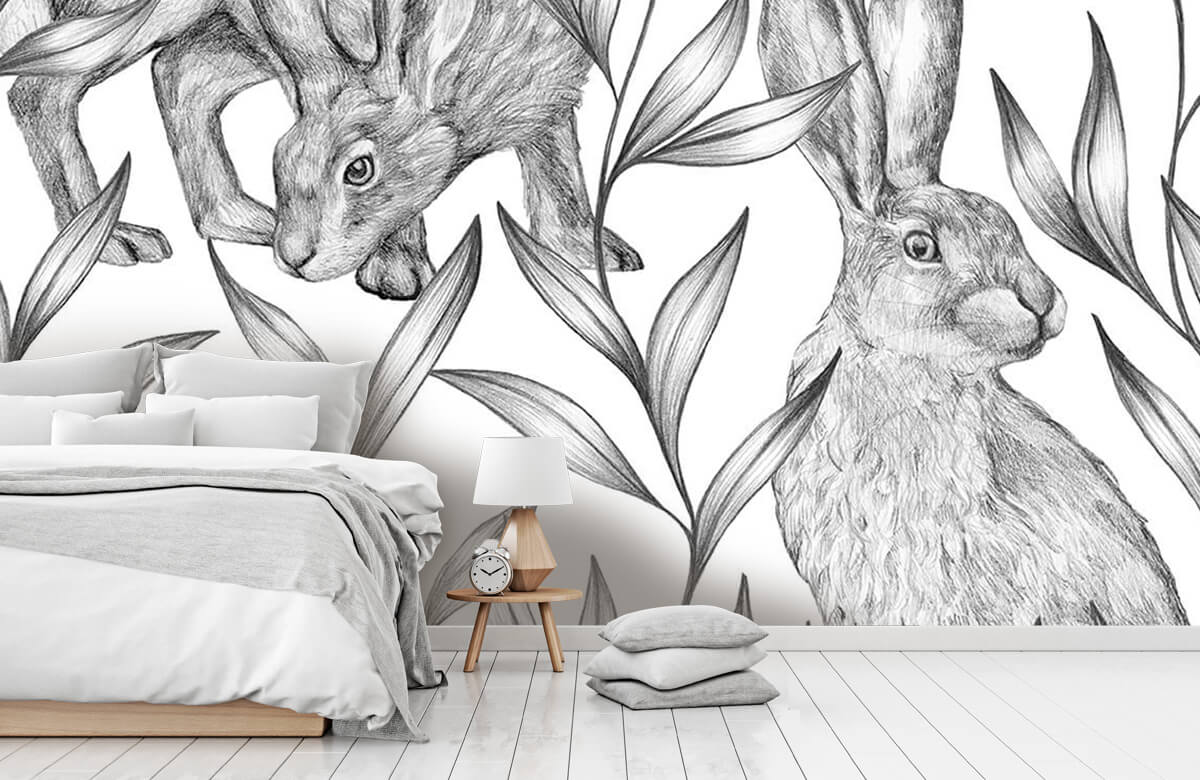 Pattern Hare in black and white 11