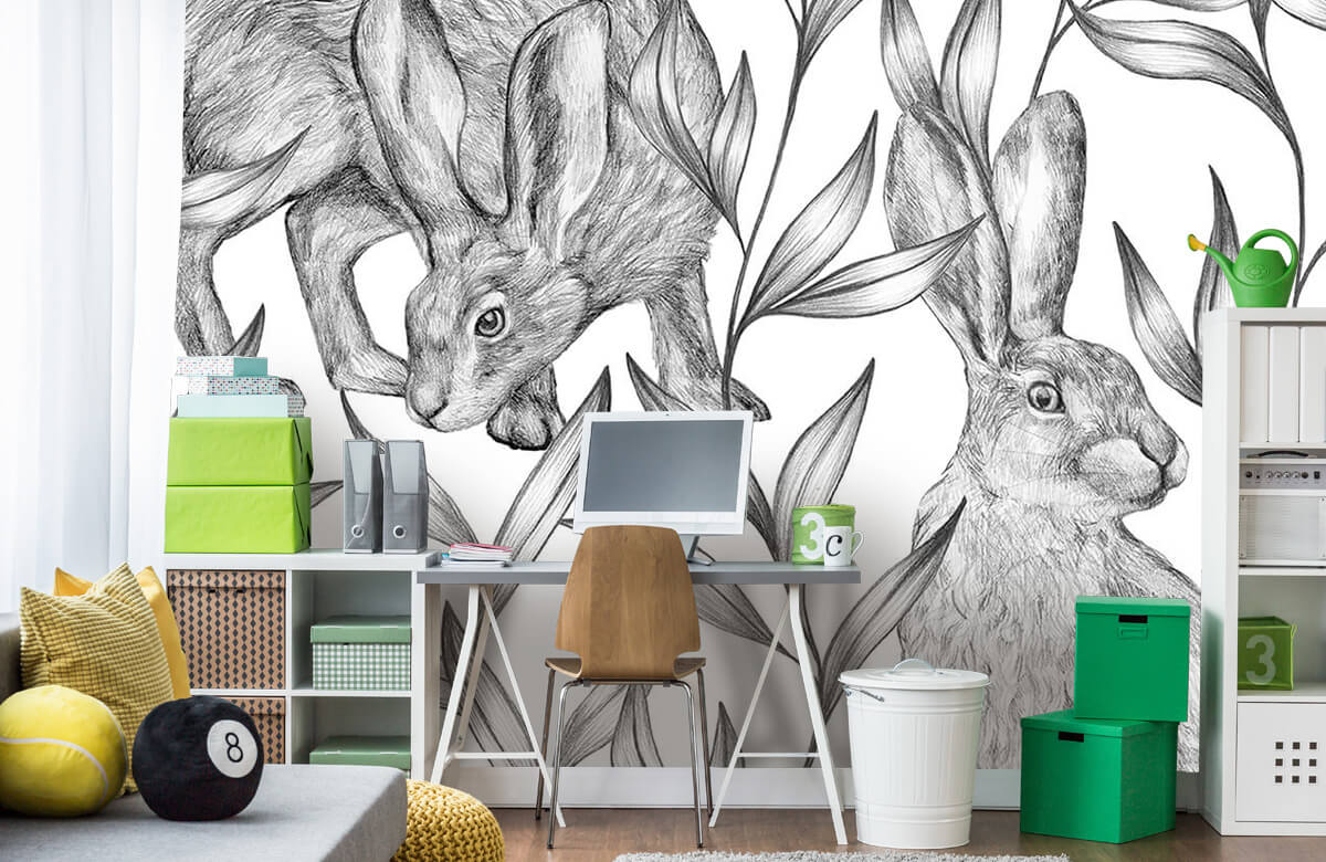 Pattern Hare in black and white 4