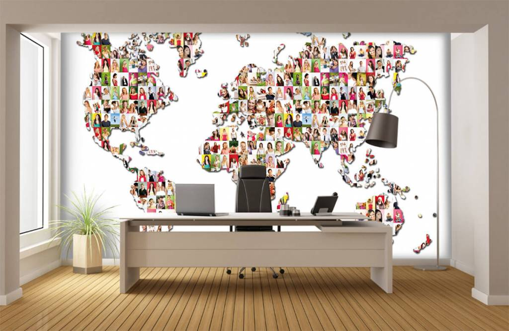 World map wallpaper - World map formed from photos - Reception 1