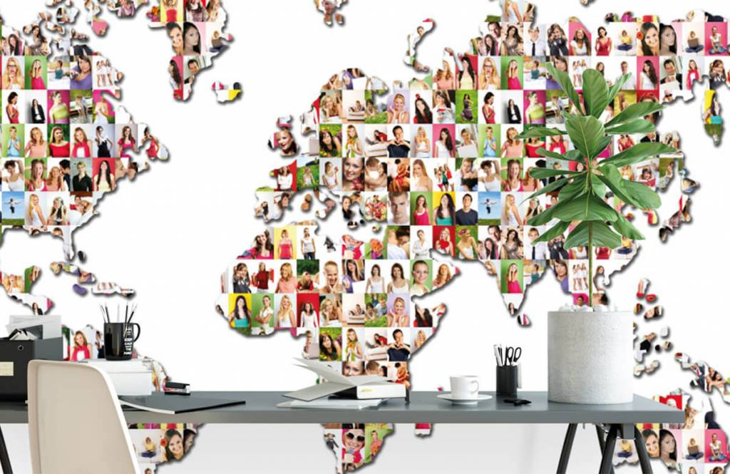 World map wallpaper - World map formed from photos - Reception 2