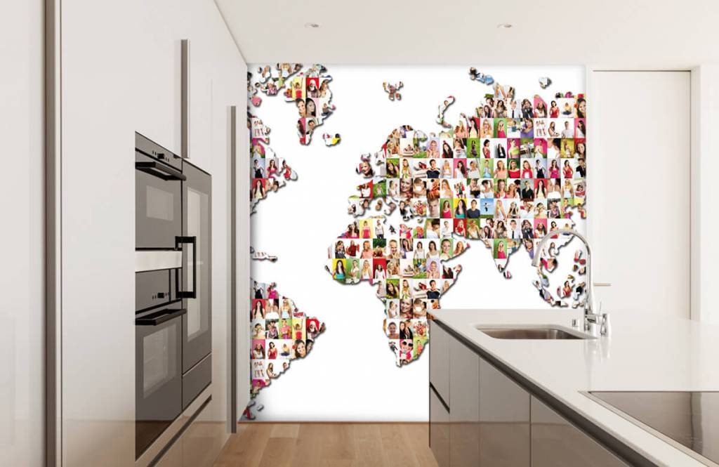 World map wallpaper - World map formed from photos - Reception 4