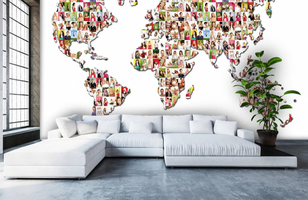 World map wallpaper - World map formed from photos - Reception 5