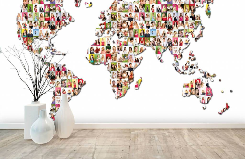 World map wallpaper - World map formed from photos - Reception 7