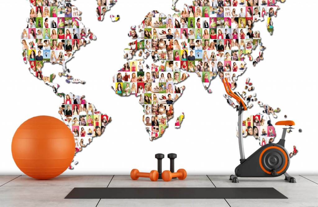 World map wallpaper - World map formed from photos - Reception 8