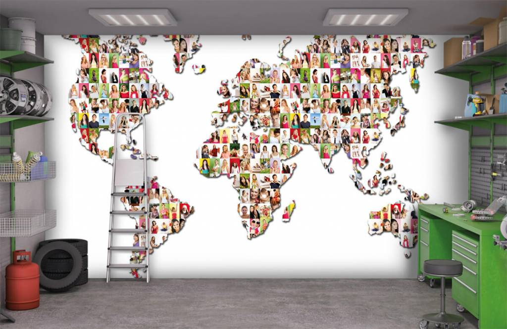 World map wallpaper - World map formed from photos - Reception 9